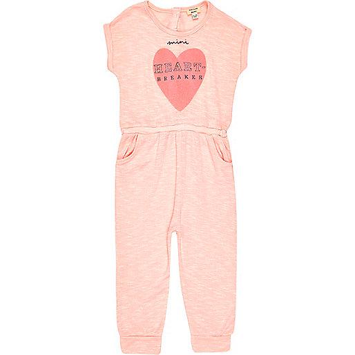 Mini girls pink heart breaker print romper
