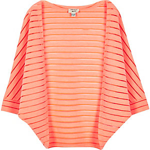 Mini girls coral cocoon cardigan