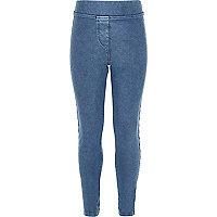 Girls light blue denim look leggings