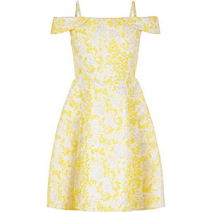 Girls yellow jacquard bardot dress
