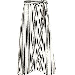 Girls white stripe wrap maxi skirt