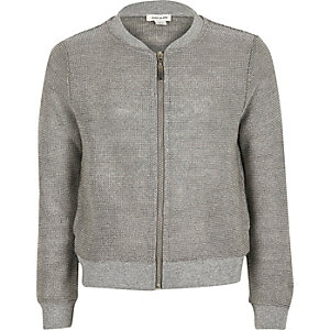 Girls silver knit bomber jacket