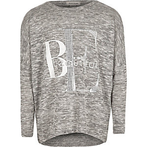 Girls grey slouch top