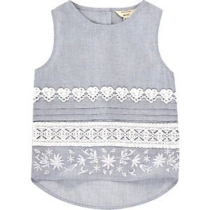 Mini girls light blue chambray lace top