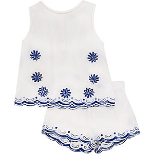 Mini girls blue top and shorts outfit