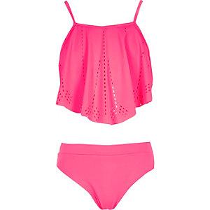 Girls pink frilly bikini