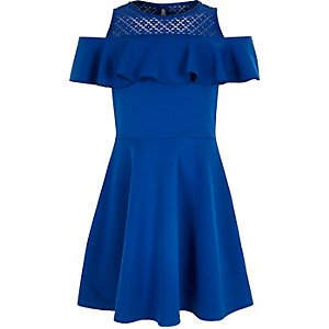 Girls blue frilly bardot dress