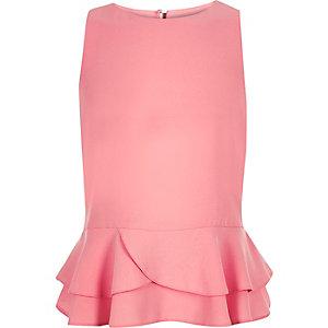 Girls pink peplum ruffle top
