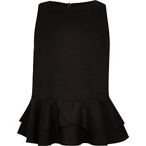 Girls black peplum ruffle top