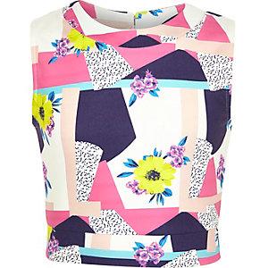 Girls pink floral print crop top