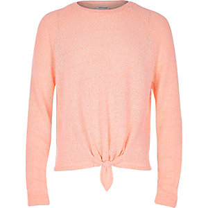 Girls coral knot front top