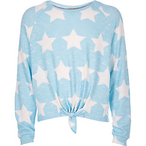 Girls blue star print slouchy top