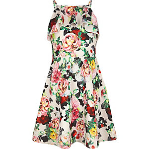 Girls pink floral print dress