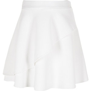 Girls white textured double layer skirt