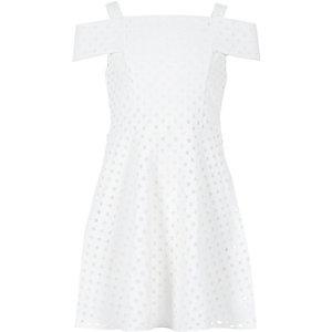 Girls white bardot dress