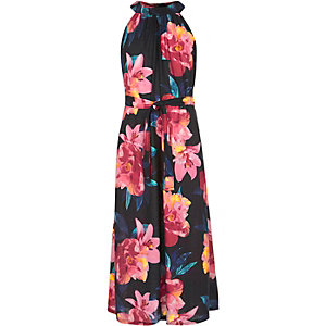 Girls black floral print maxi dress