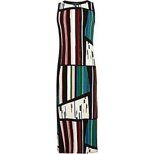 Girls black stripe column dress