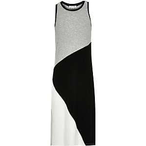 Girls grey color block maxi dress