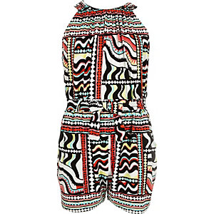 Girls multi print romper