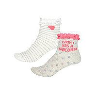 Lot de chaussettes motif licorne grises pour fille