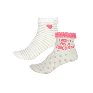 Girls grey unicorn socks pack