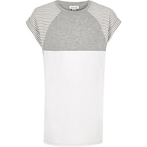 Girls grey stripe color block t-shirt