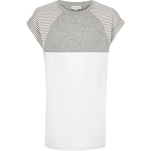 Girls grey stripe color block t-shirt