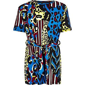 Girls blue animal print belted tunic