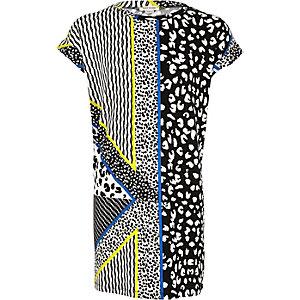 Girls black leopard print t-shirt