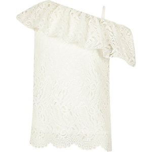 Girls cream lace one shoulder top