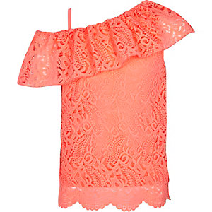 Girls pink lace one shoulder top