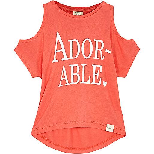Mini girls orange print cold shoulder t-shirt