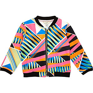 Mini girls blue geometric print bomber jacket