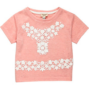 Mini girls pink embroidered t-shirt