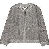 Mini girls silver knit bomber jacket