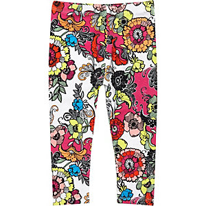 Mini girls pink floral print leggings