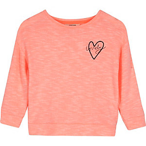 Mini girls pink slouchy sweatshirt
