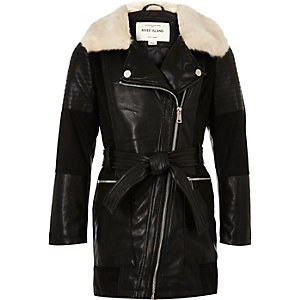 Girls black faux fur trim longline coat
