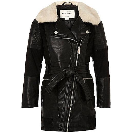 Girls black faux fur collar longline coat