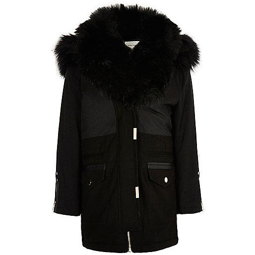 Girls black faux fur trim parka