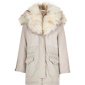 Girls grey faux fur collar parka