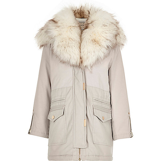 Girls grey faux fur trim parka