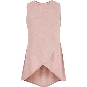 Girls pink wrap sleeveless top