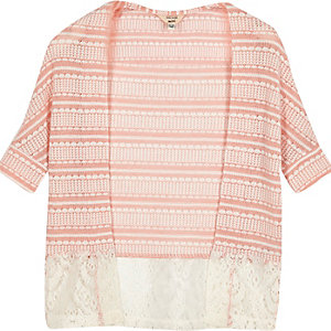 Mini girls coral lace hem cardigan