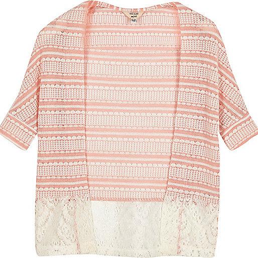 Mini girls coral lace hem cardigan