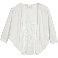 Mini girls white lace panel cardigan
