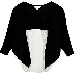 Mini girls black lace panel cardigan