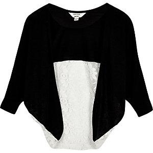 Mini girls black lace panel cardigan