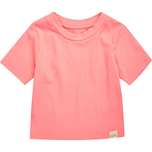 Mini girls coral ribbed t-shirt