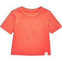 Mini girls fluro flame ribbed T-shirt